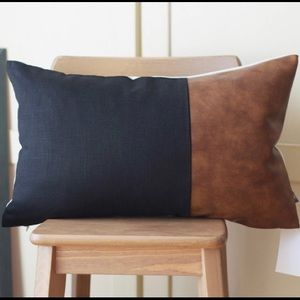 Faux Leather Farmhouse Lumbar Throw Pillow Cover